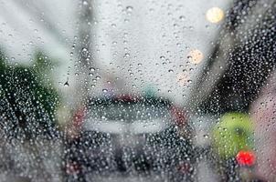 Rain blurred traffic jam photo