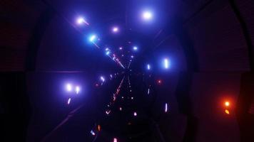 Dark glowing neon tunnel 3d illustration design artwork background wallpaper
