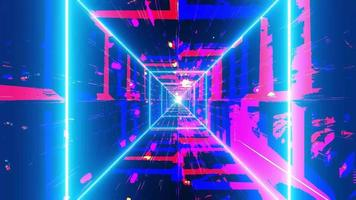 Colorful highly abstract neon tunnel lines 3d illustration background wallpaper design artwork