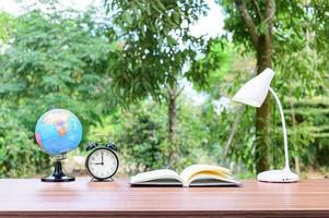 Desk with nature background photo