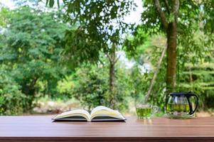 Desk with nature background
