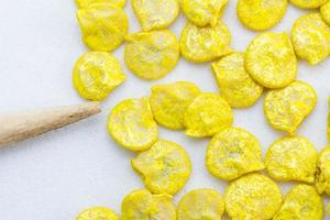 Close-up of yellow pepper seeds.