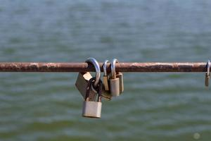 Multiple padlocks on a metal bar with a water background
