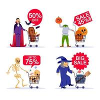 Spooky Character And Shopping Cart Halloween Sale Set