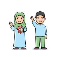 lindo personaje de dibujos animados musulmán niños estudiante vector