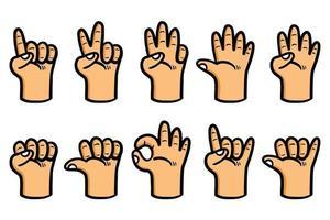 Fancy Cartoon Hand Gesture Collection Set vector