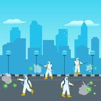 Disinfectant Officer Sterilized The City vector