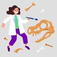 Female Archeologist Character Floating Imaginative Concept vector