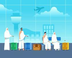 Islamic Pilgrims Waiting For Departure At Airport