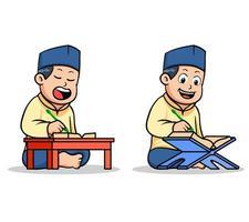 niño de la escuela islámica leyendo el sagrado corán vector