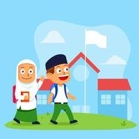 Cute Kids Islamic School Students Walk To School vector
