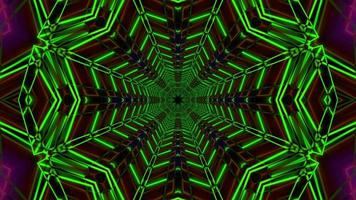 Green radar colored neon star 3d illustration vj loop