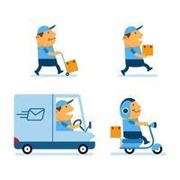 servicio postal conjunto de colección de personajes de dibujos animados exagerada vector