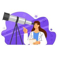 Female Astronomy Scientist Character Illustration vector