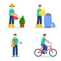 hombre aplicando ilustración de estilo de vida verde vector