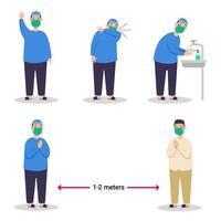 Boy Moslem Preventing Spread Of Flu Virus Flat Character vector