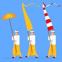 Balinese Boys Carry Long Flag And Umbrella vector