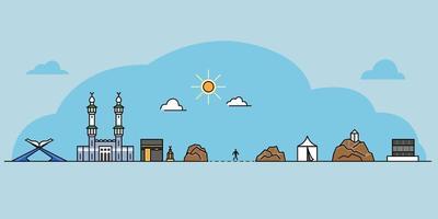Landmark Icon Outline Of Hajj Pilgrim Rite vector