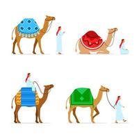 conjunto de colección de personajes planos de jinete de camello vector