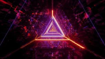 Cool futuristic triangle tunnel 3d illustration background wallpaper design artwork
