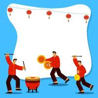 Playing Music Instrument To Celebrate Chinese New Year Flat Illustration vector