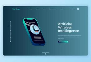 Isometric Smartphone technology Landing Page background vector