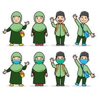Comical Cartoon Character Of Moslem Student Kids