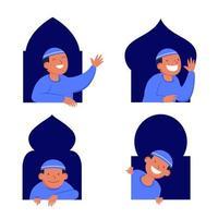 chico musulmán personaje plano asomando por la ventana vector