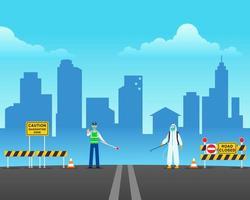 Security Check On Quarantine Zone vector