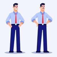 Man Flat Character In Confident Pose vector