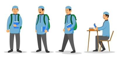 Boy Moslem College Student Flat Character Set