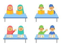Reading Book Islamic Kids Flat Character Set vector