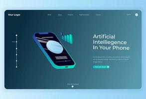 Isometric Smart wireless technology on smartphone Landing Page background vector