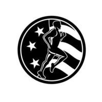 Marathon Runner Running USA Flag Black and White Emblem vector