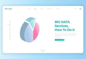 3 step circular pie chart for landing page vector