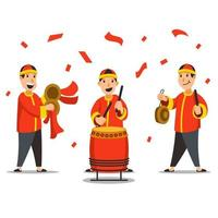 Chinese Traditional Musician Characters Illustration vector