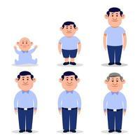 hombre personaje plano en diferentes edades. vector