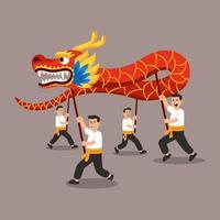 la gente realiza la danza del dragón chino tradicional ilustración plana vector