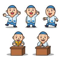 Various Activity Of Boy Islamic School Kids Character Set vector