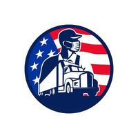 American Trucker Wearing Mask USA Flag Circle Mascot Emblem
