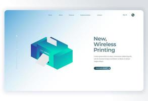 Isometric Printer for Landing Page background vector