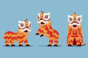 Acrobatic Chinese Traditional Lion Dance Illustration vector