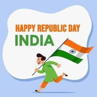 niño corre y sostiene la bandera de la india vector