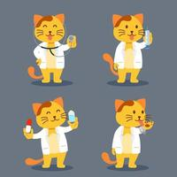 Cat As Pet Doctor Flat Character Illustration vector