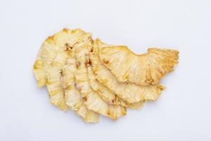 Top view of dried pineapple slices photo
