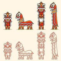 Simple Line Chinese Lion Dance Character Set vector