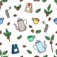 Coffee Cup And Plant Drawing Seamless Pattern vector