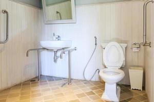 Toilet and sink with handrails