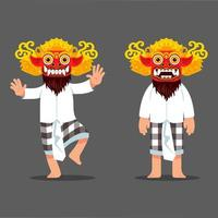 Traditional Balinese Evil Spirit Mask Dancer Character vector