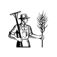Wheat Farmer Holding a Rake and Cereal Grain Stalk Retro Woodcut